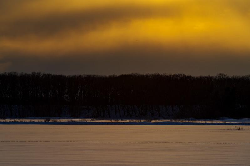 斜里雪原の夕暮れ