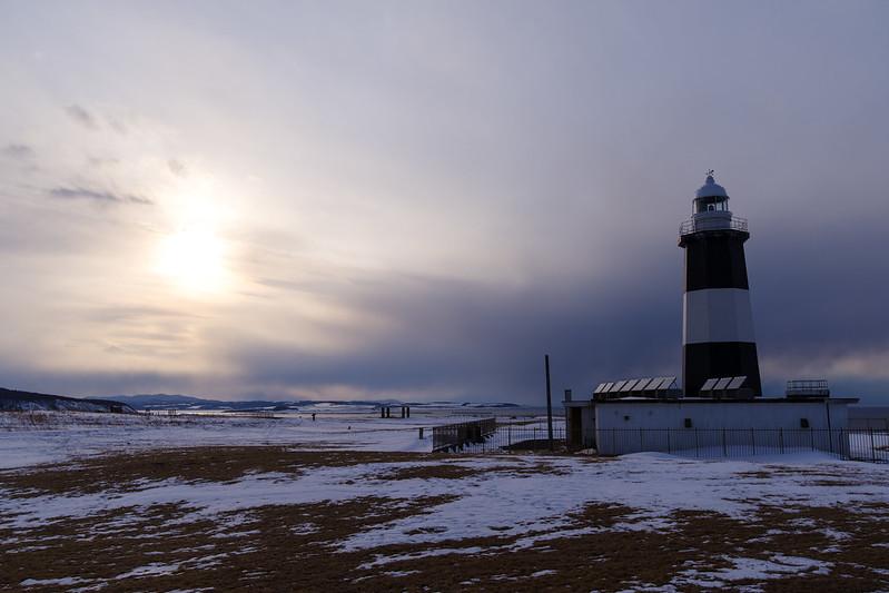 能取灯台と夕日