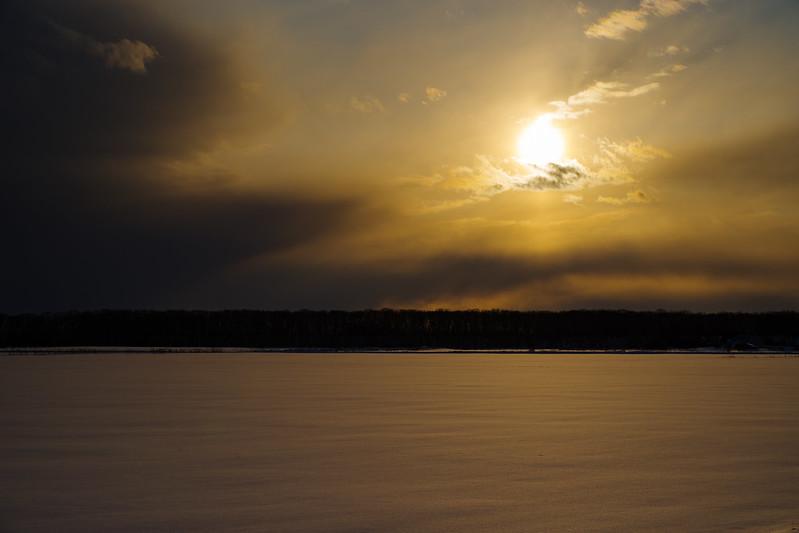 斜里雪原の夕日